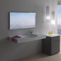 Plan vasque design en polystone blanc mat SDPW13-D