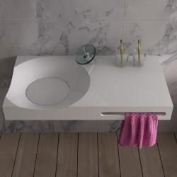 Vue plongeante sur le plan vasque SDPW13-E à vasque design