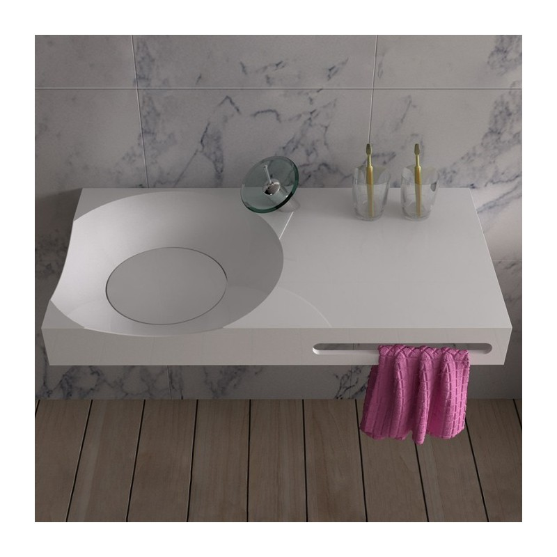 Plan vasque design en solid surface avec porte serviette for Plan vasque design