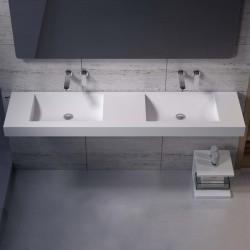 Double plan vasque suspendu pour robinets muraux SDPW28