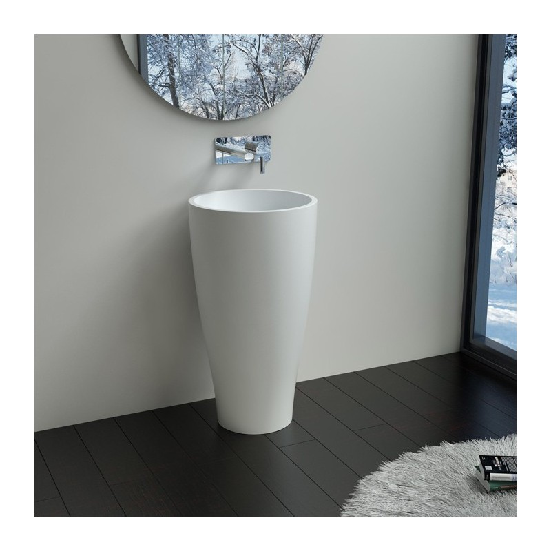 vasque sur pied design cylindrique en solid surface lavabo totem blanc sdpw58 distribain. Black Bedroom Furniture Sets. Home Design Ideas