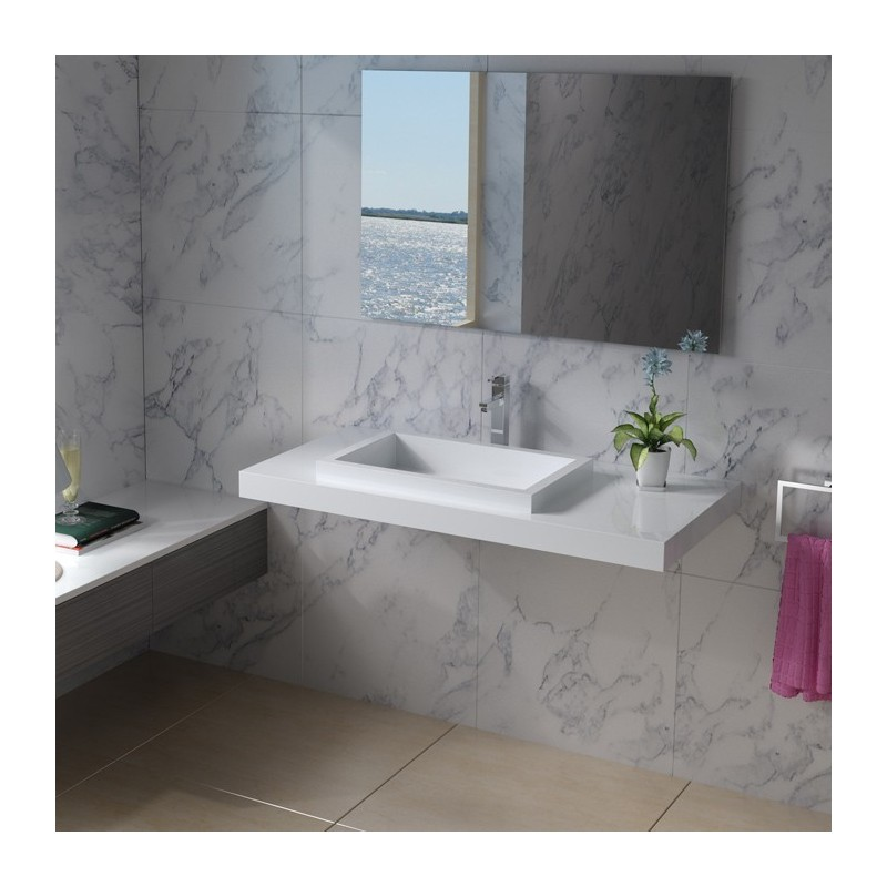 Plan vasque mural avec vasque à rebords SDPW44