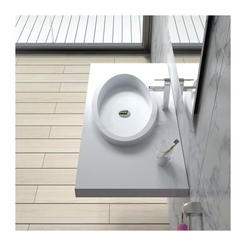 Plan vasque à suspendre avec vasque ovale à rebords SDPW45