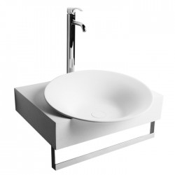 Vasque ronde et support mural avec porte-serviette SDWD3870-1