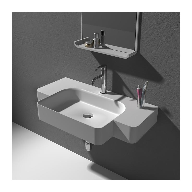 plan vasque suspendu en solid surface sdwd38187 distribain. Black Bedroom Furniture Sets. Home Design Ideas