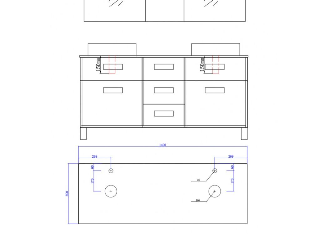 Meuble double vasque avec pied dis911co meuble de salle for Meuble sous vasque avec pied