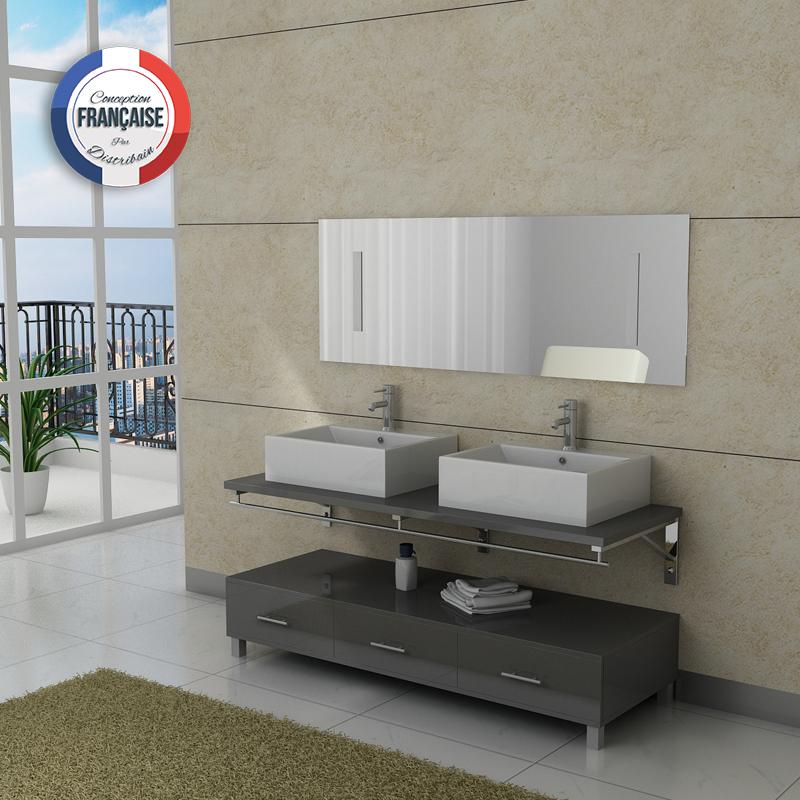 meuble salle de bain double vasque DIS985 gris - Distribain