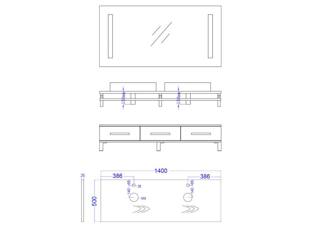 Meuble salle de bain double vasque dis985 gris distribain for Meuble salle de bain avec porte serviette