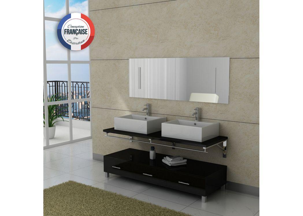 Meuble salle de bain double vasque dis985 noir distribain for Solde meuble de salle de bain double vasque