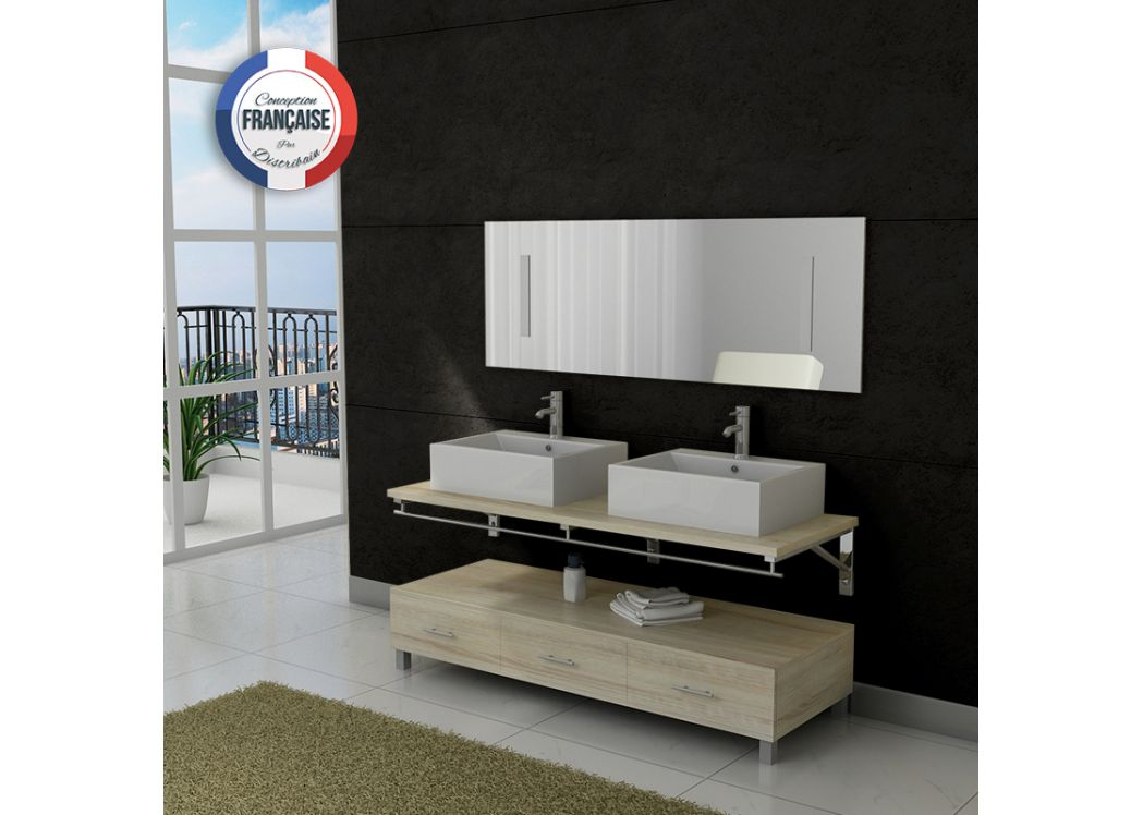 meuble salle de bain double vasque dis985 teinte bois clair distribain. Black Bedroom Furniture Sets. Home Design Ideas