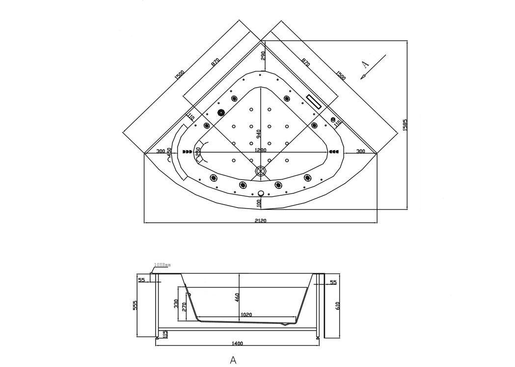 Baignoire d 39 angle baln o 2 places armonie 2 baignoire d for Dimension baignoire balneo