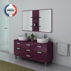 Ensemble de meuble double vasque DIS911 Aubergine