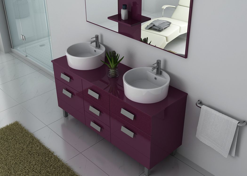 meuble double vasque sur pieds aubergine meuble double. Black Bedroom Furniture Sets. Home Design Ideas