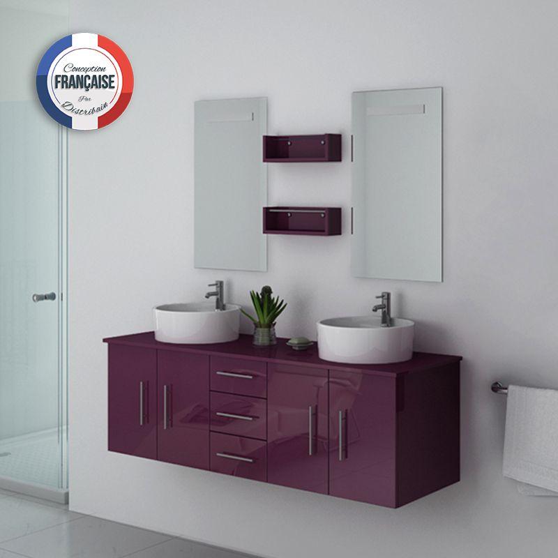 meuble double vasque suspendu aubergine meuble double. Black Bedroom Furniture Sets. Home Design Ideas