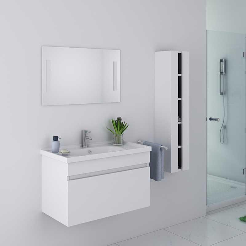 meuble de salle de bain blanc laqué dis800ab