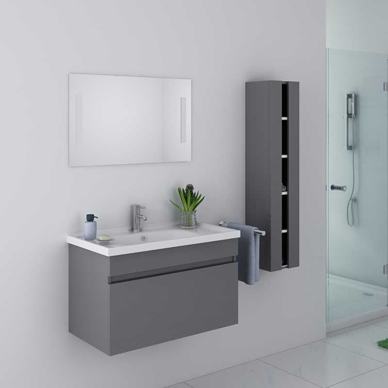 meuble de salle de bain simple vasque 80 cm meuble de salle de bain gris dis800agt distribain. Black Bedroom Furniture Sets. Home Design Ideas