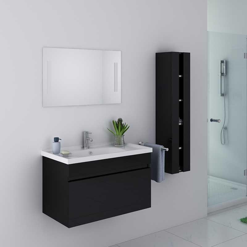 Ensemble de salle de bain noir meuble de salle de bain for Meuble vasque colonne