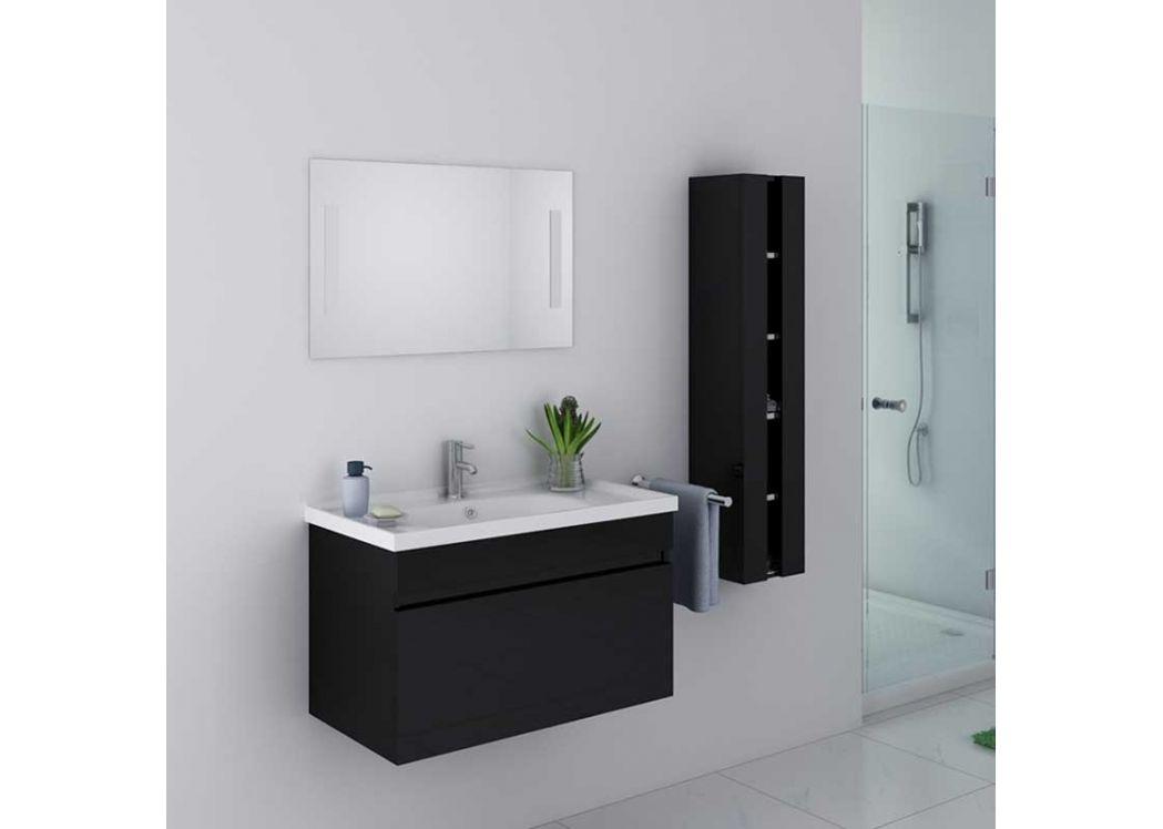 Ensemble de salle de bain noir simple vasque ensemble de salle de bain noir dis800an distribain - Meuble avec vasque ...