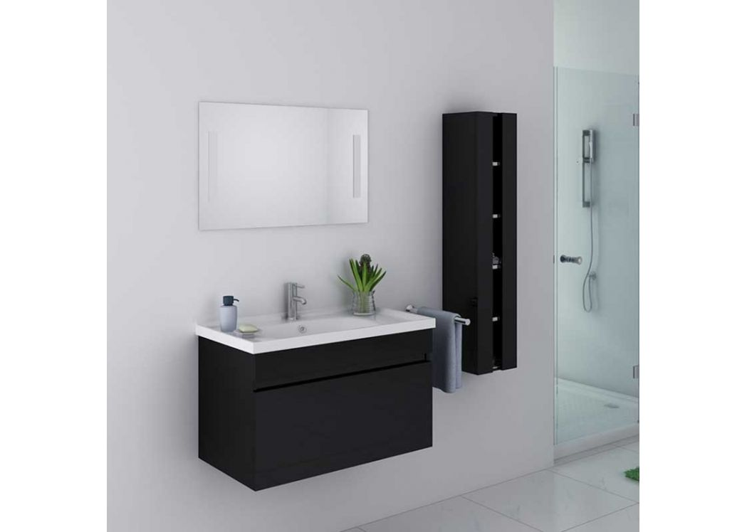 ensemble de salle de bain noir meuble de salle de bain simple vasque 80 cm dis800an distribain. Black Bedroom Furniture Sets. Home Design Ideas