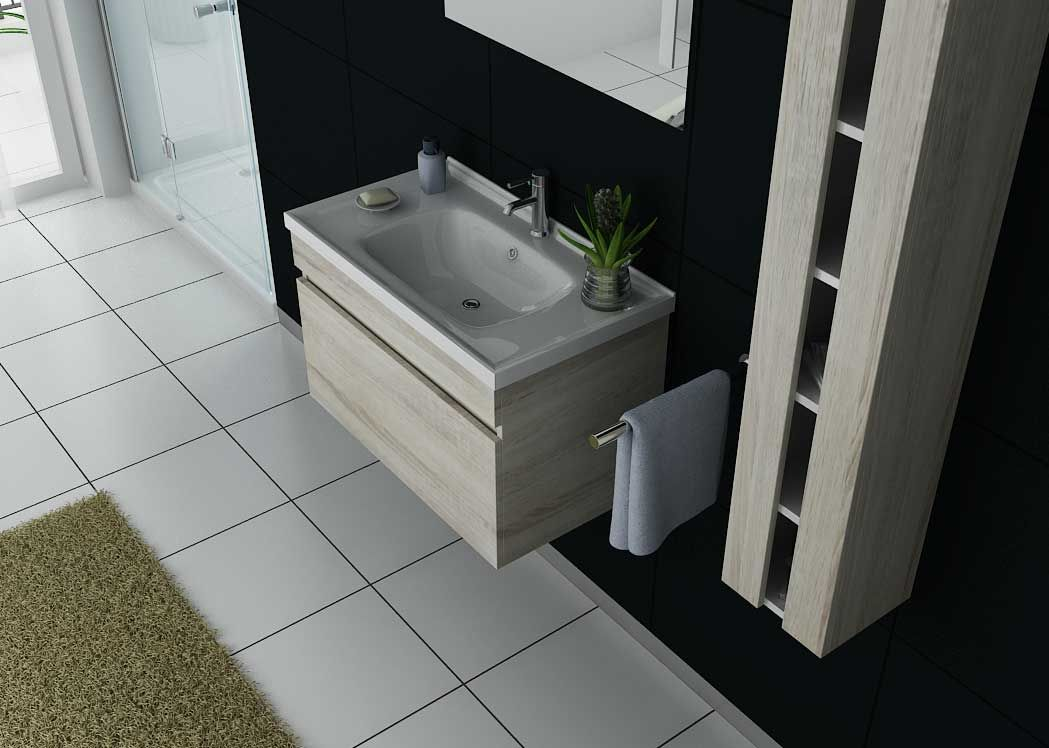 Meuble de salle de bain simple vasque 80 cm ensemble for Ensemble meuble salle de bain simple vasque