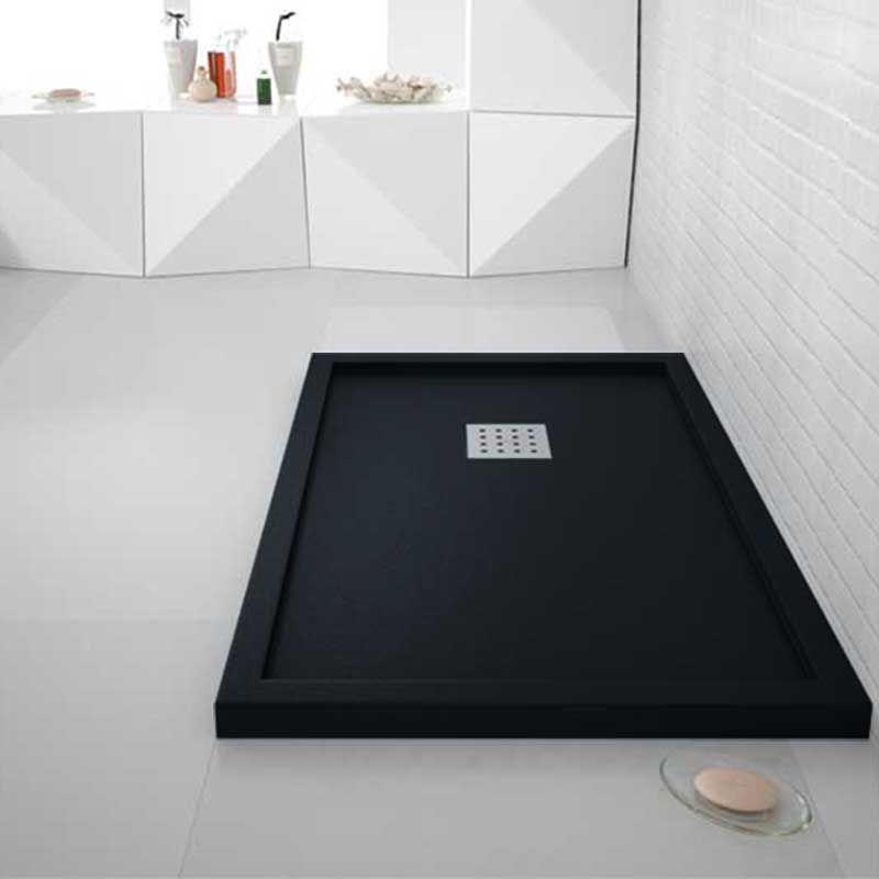 receveur de douche noir avec rebords liso enmarcado. Black Bedroom Furniture Sets. Home Design Ideas