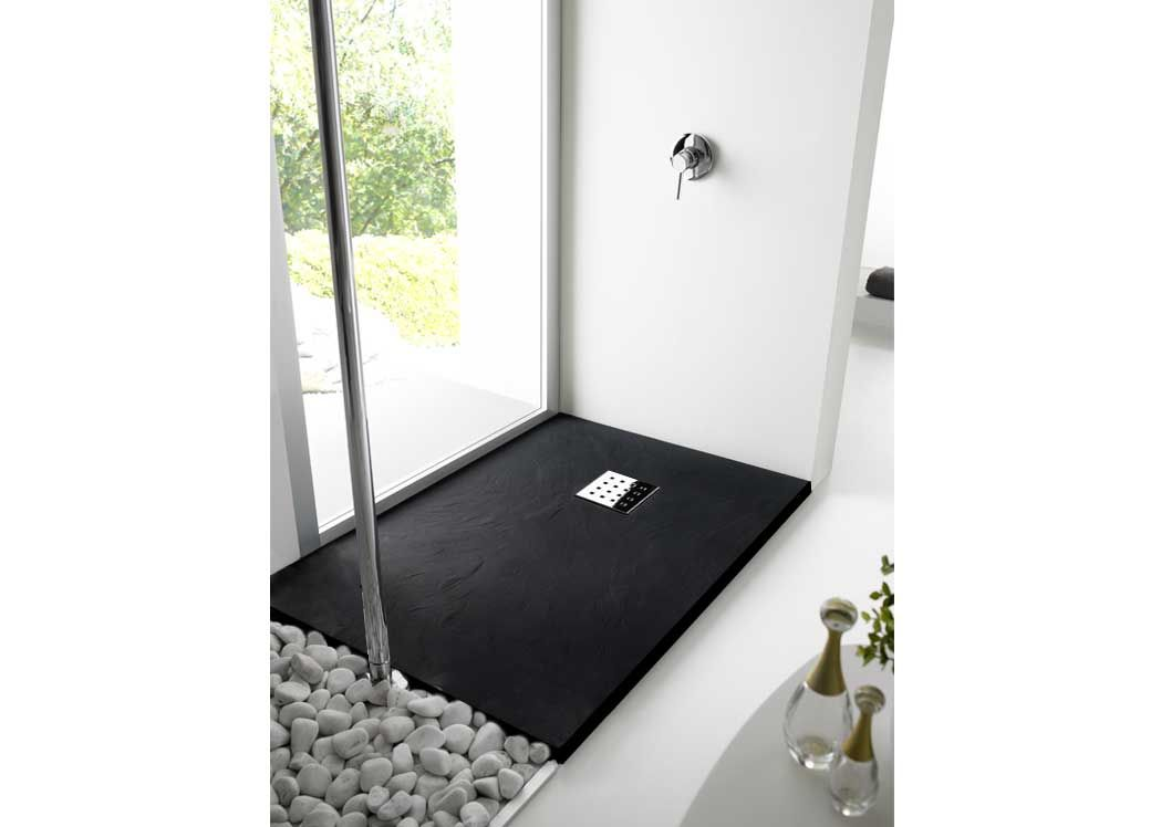 receveur de douche extra plat noir pizarra. Black Bedroom Furniture Sets. Home Design Ideas