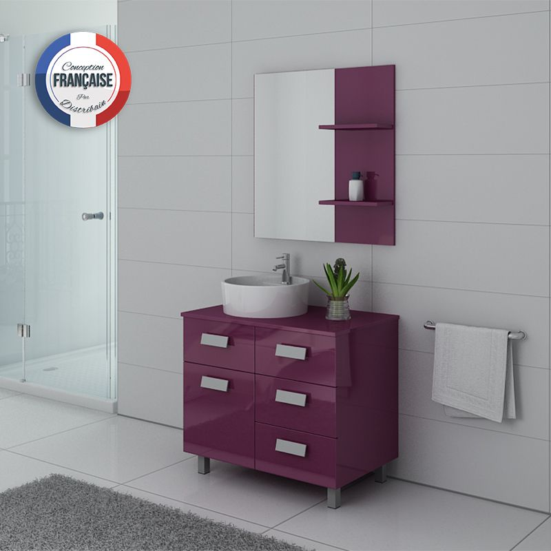 Meuble simple vasque MILAN Aubergine