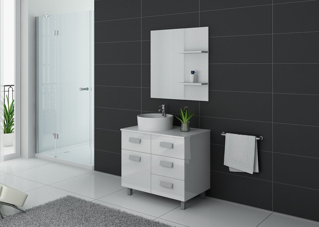 meuble de salle de bain simple vasque 80 cm meuble de salle de bain blanc milan distribain. Black Bedroom Furniture Sets. Home Design Ideas