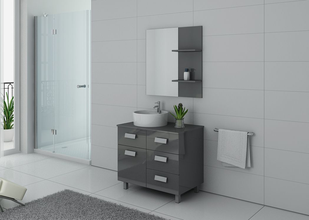 meuble de salle de bain gris milan meuble de salle de bain simple vasque 80 cm distribain. Black Bedroom Furniture Sets. Home Design Ideas
