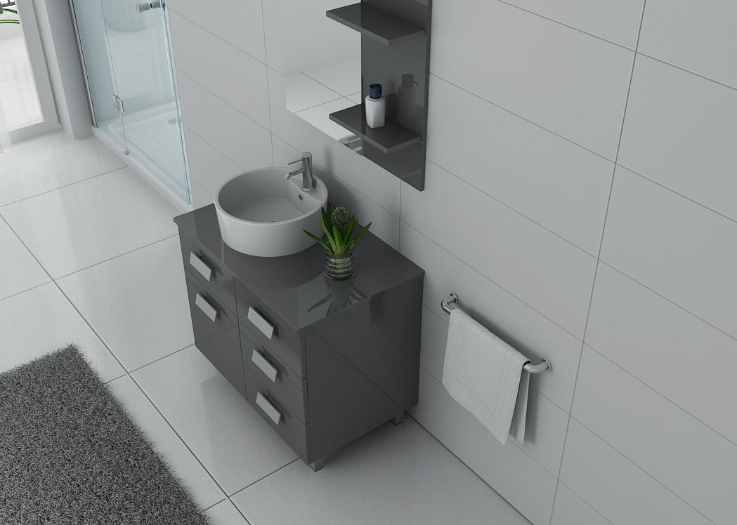 Meuble de salle de bain gris milan meuble de salle de for Meuble salle de bain gris
