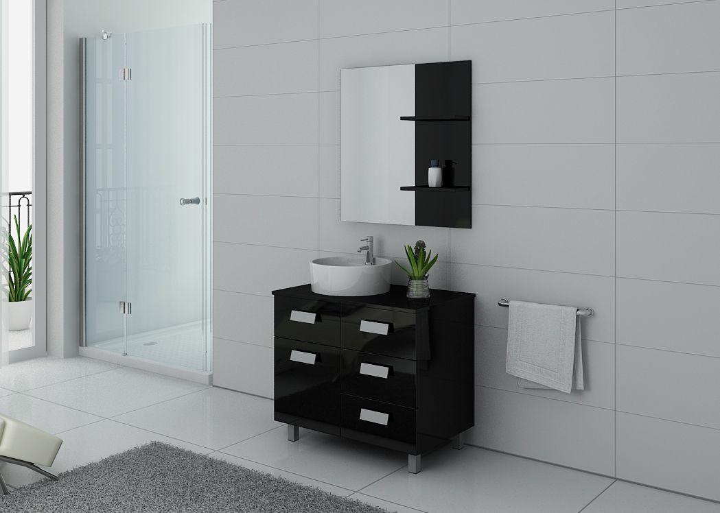 Meuble de salle de bain simple vasque 80 cm milan meuble de salle de bain noir distribain for Vasque salle de bain noir