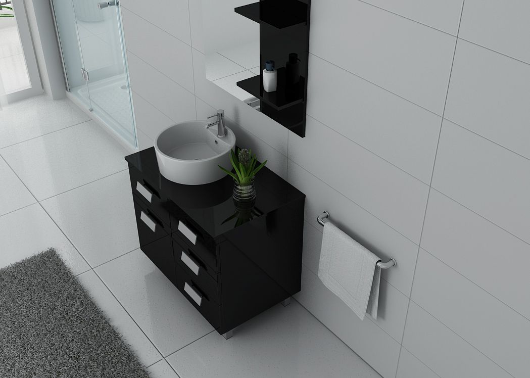 meuble de salle de bain simple vasque 80 cm milan meuble de salle de bain noir distribain. Black Bedroom Furniture Sets. Home Design Ideas