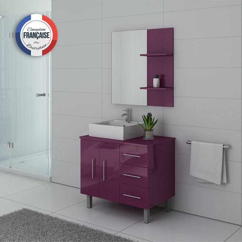 Meuble simple vasque aubergine FLORENCE, meuble de salle de bain couleur  aubergine - Distribain