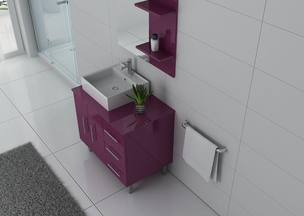 Meuble simple vasque florence meuble de salle de bain 1 - Meuble de salle de bain aubergine ...