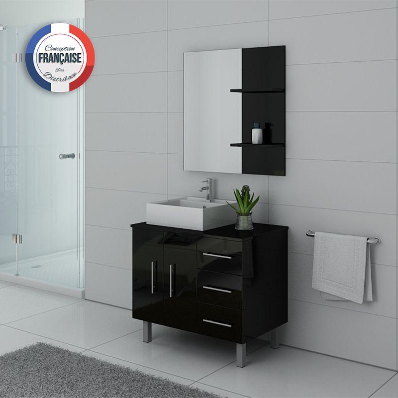 Meuble simple vasque FLORENCE Noir laqué