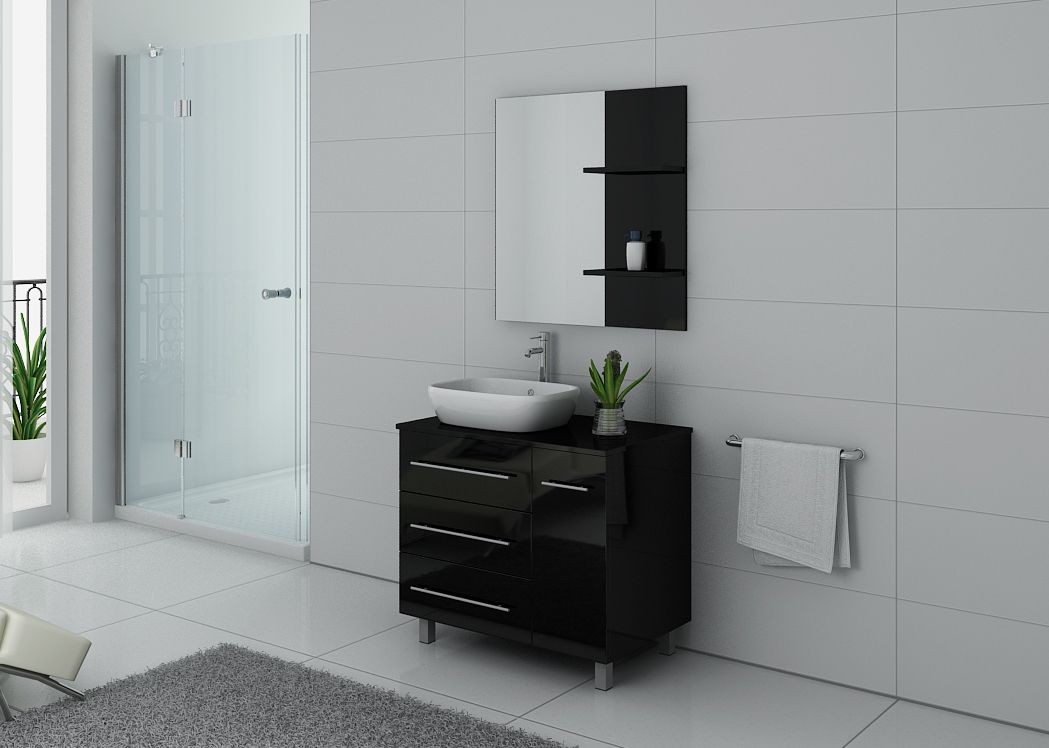 meuble de salle de bain simple vasque pas cher meuble de salle de bain noir toscane distribain. Black Bedroom Furniture Sets. Home Design Ideas