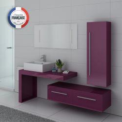 Meuble simple vasque DIS9250 couleur Aubergine