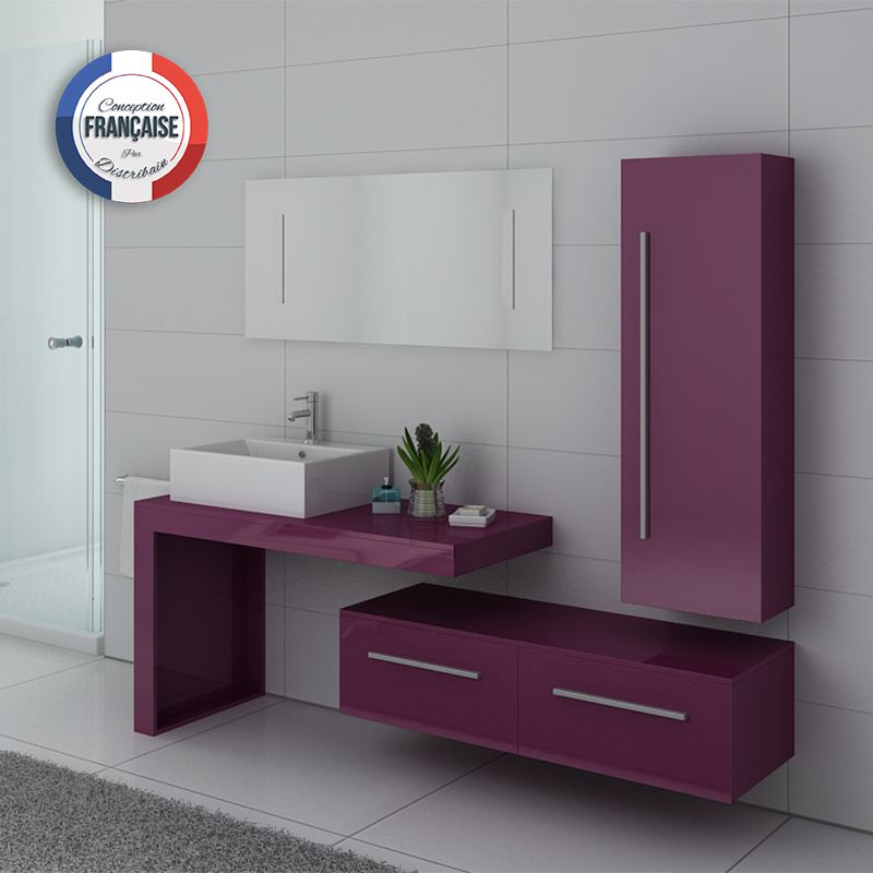 Meuble simple vasque DIS9250 couleur Aubergine