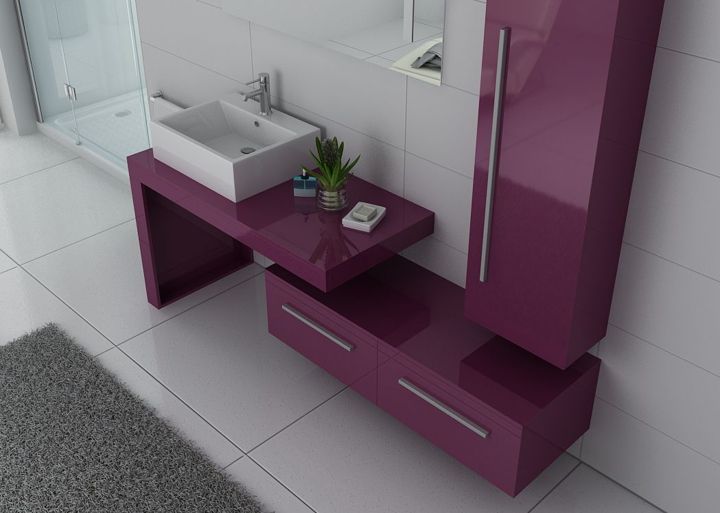 meuble de salle de bain 1 vasque 90 cm aubergine meuble vasque simple dis9250 distribain. Black Bedroom Furniture Sets. Home Design Ideas