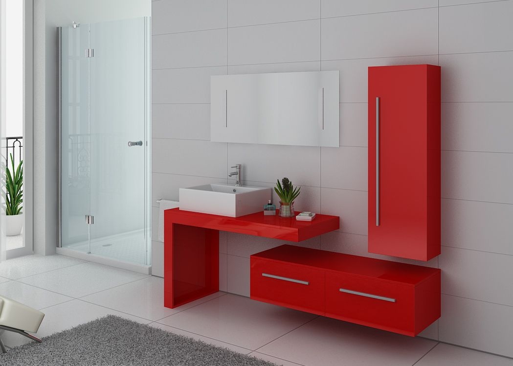 Meuble de salle de bain simple vasque rouge gloss distribain - Meuble simple vasque ...
