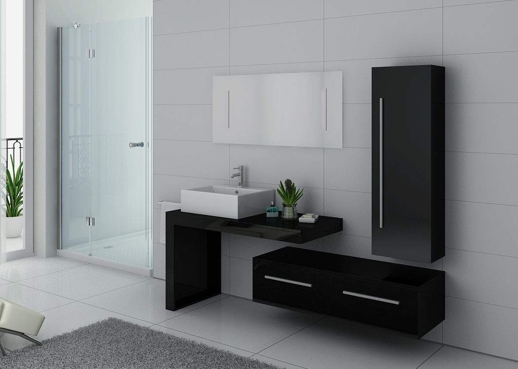 ensemble de meuble de salle de bain 1 vasque dis9250 ensemble de salle de bain noir distribain. Black Bedroom Furniture Sets. Home Design Ideas