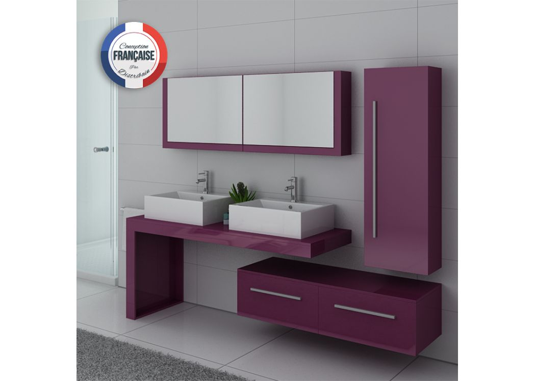 Meuble de salle de bain double vasque blanc gloss dis9350b distribain - Ensemble double vasque ...