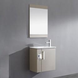 Meuble de salle de bain simple vasque marron glacé