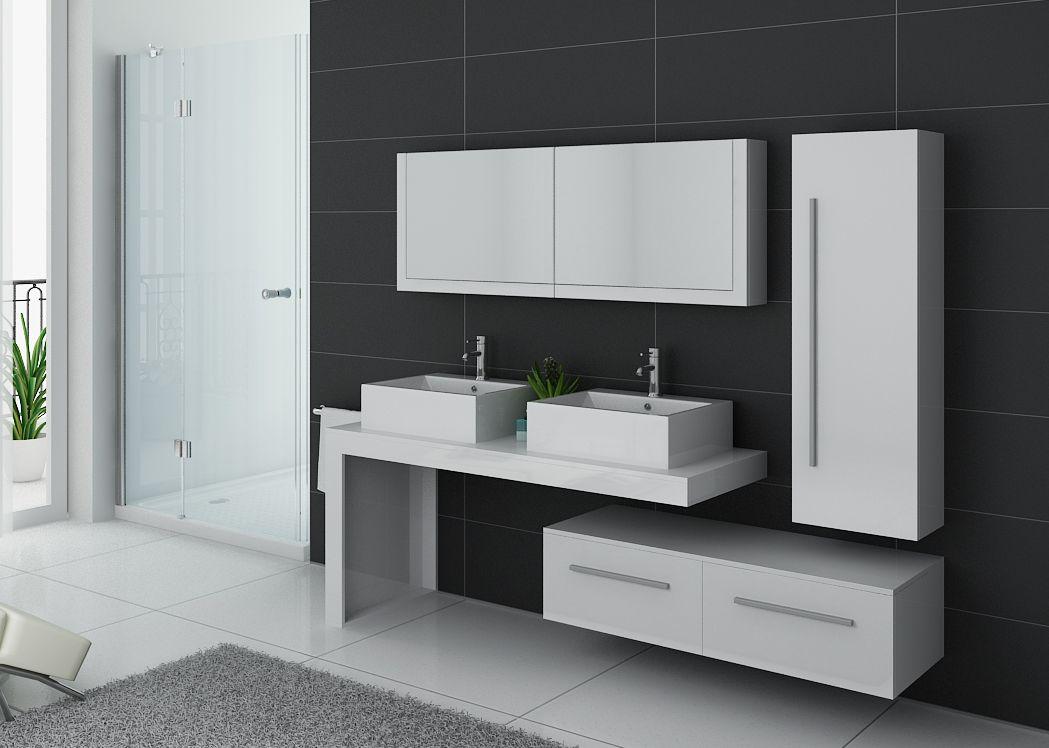Meuble de salle de bain blanc double vasque meuble double for Ensemble meuble vasque