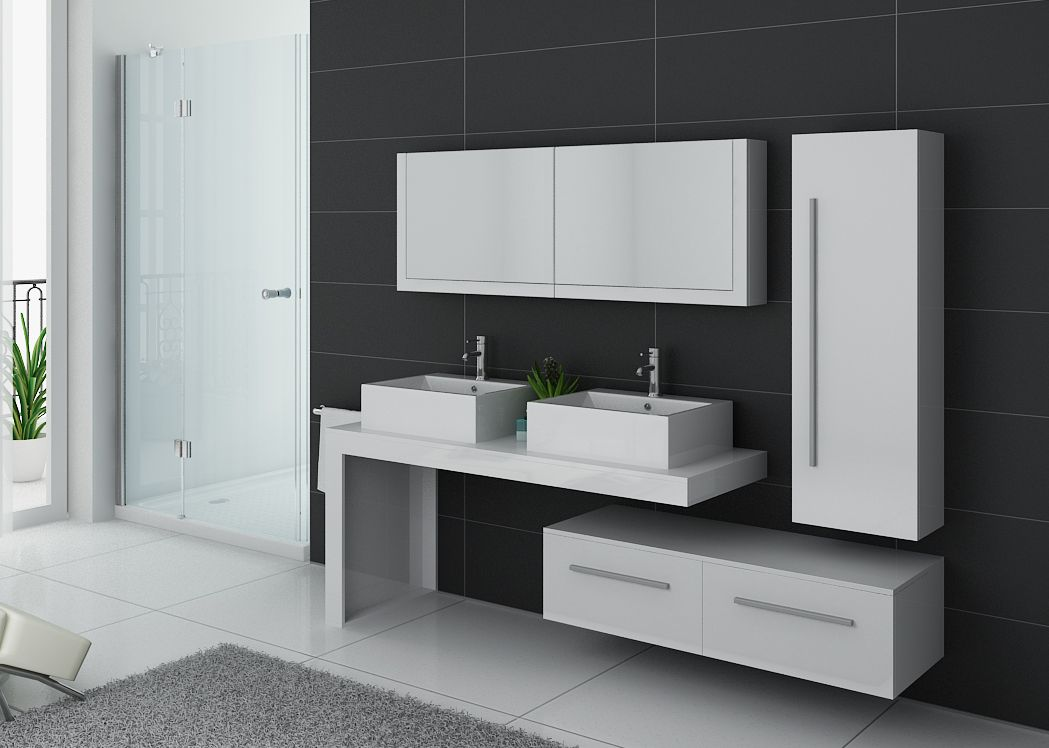 meuble de salle de bain blanc double vasque meuble double. Black Bedroom Furniture Sets. Home Design Ideas