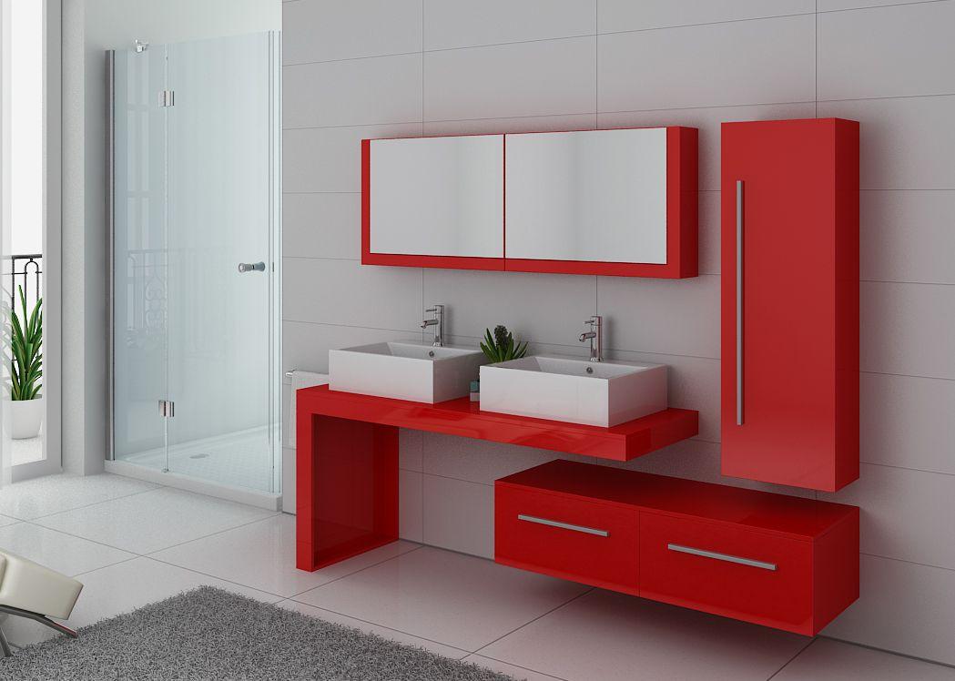 Meuble double vasque rouge coquelicot dis9350co meuble double vasque suspendu design - Salle de bain double vasque ...