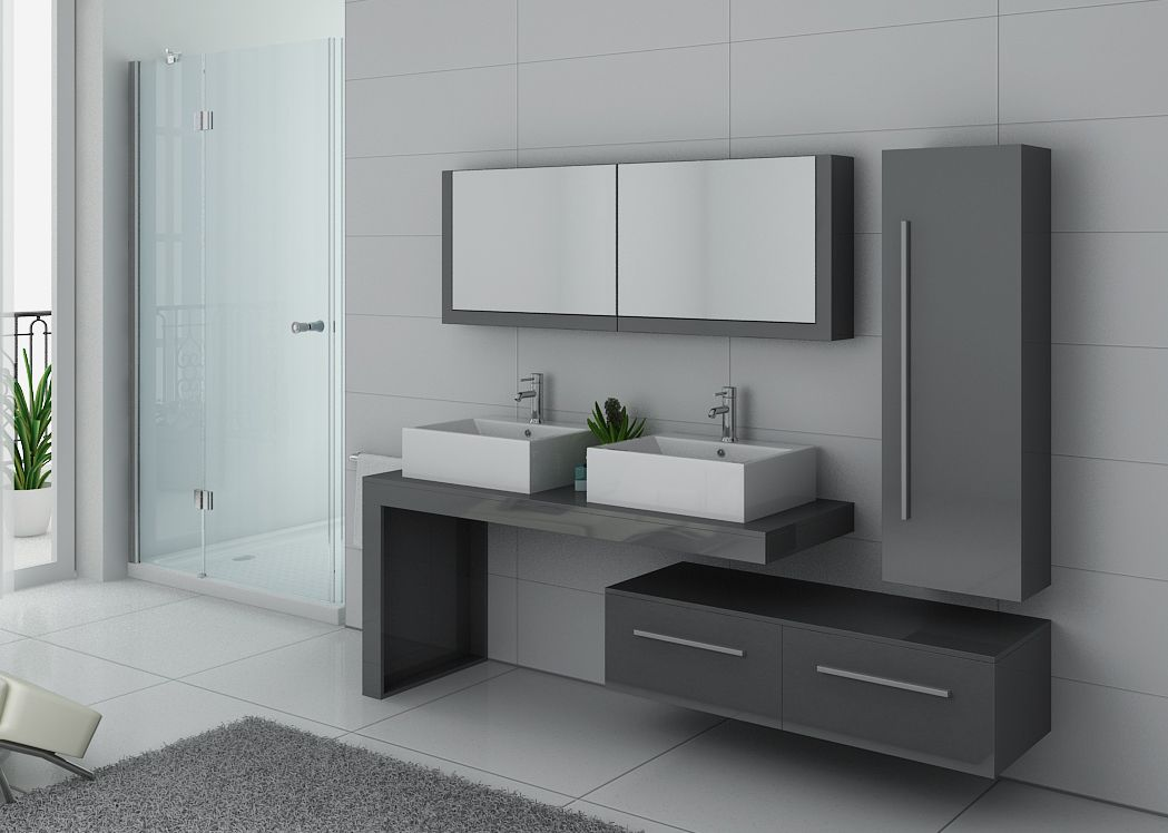 meuble double vasque gris taupe dis9350gt meuble de salle de bain double vasque design. Black Bedroom Furniture Sets. Home Design Ideas