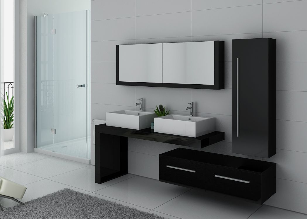 meuble de salle de bain double vasque noir dis9350n distribain. Black Bedroom Furniture Sets. Home Design Ideas