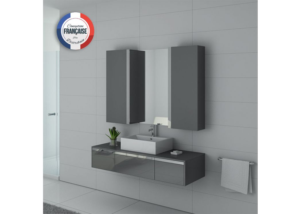 meuble de salle de bain gris meuble de salle de bain 140 cm simple vasque dis9650gt distribain. Black Bedroom Furniture Sets. Home Design Ideas