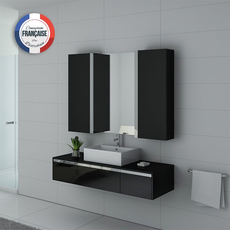 Meuble de salle de bain 140 cm simple vasque ensemble de for Meuble vasque noir